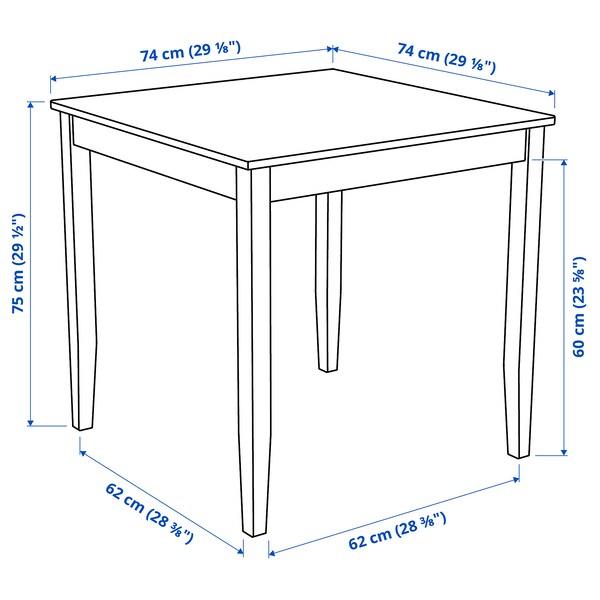 LERHAMN Mesa, acab envelhecido claro/velatura branca, 74x74 cm