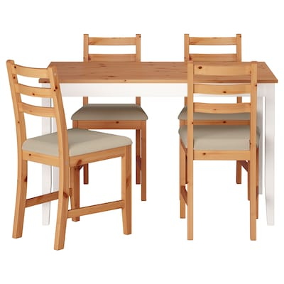 LERHAMN Mesa e 4 cadeiras, acab envelhecido claro velatura branca/Vittaryd bege, 118x74 cm