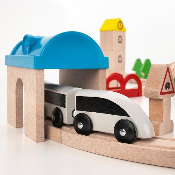 IKEA LILLABO Conj de comboio e carris, 45 peças