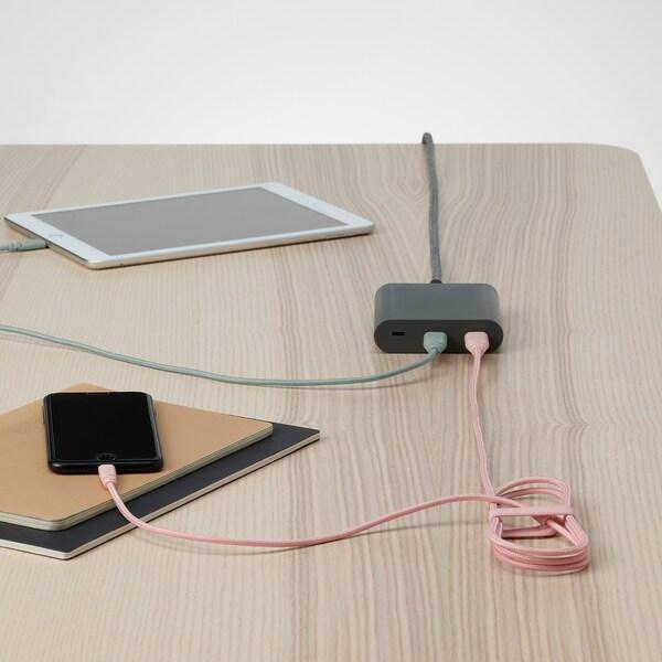 LILLHULT USB tipo A p/cabo lightning, têxtil/rosa claro, 1.50 m