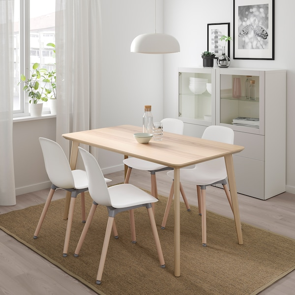 LISABO / LEIFARNE Mesa e 4 cadeiras, chapa de freixo/branco, 140x78 cm