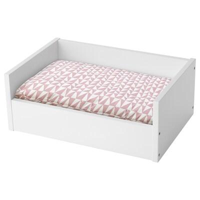 LURVIG Cama p/animal estim c/almf, branco/rosa triângulo, 45x69 cm
