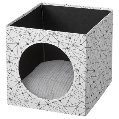 LURVIG Casa p/gato c/almofada, branco/cinz clr, 33x38x33 cm