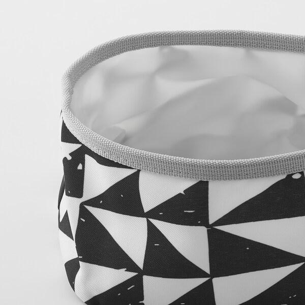 LURVIG Tigela, branco/preto, 16 cm