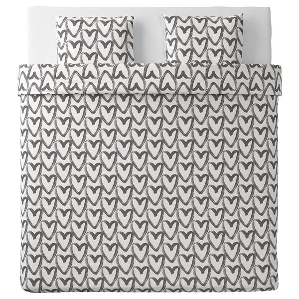 LYKTFIBBLA Capa de edredão+2 fronhas, branco/cinz, 240x220/50x60 cm