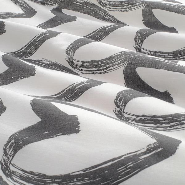 LYKTFIBBLA Capa de edredão e 2 fronhas, branco/cinz, 240x220/50x60 cm