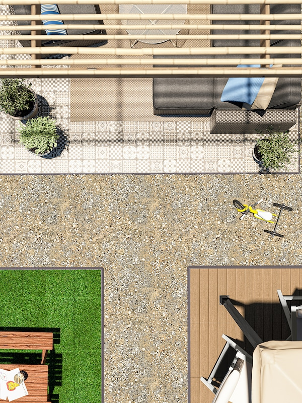 MÄLLSTEN Pavimento, exterior, interior/exterior/cinz/branc, 0.81 m²