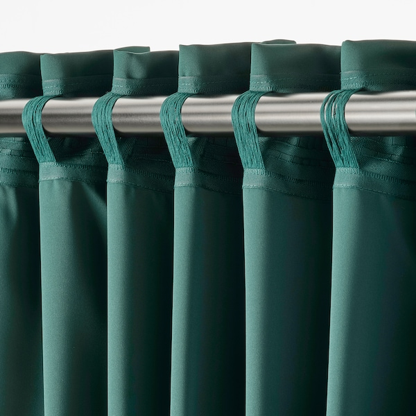 MAJGULL Cortinados opacos, 1par, turquesa escuro, 145x300 cm