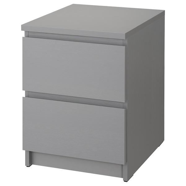 MALM Cómoda c/2 gavetas, cinz c/velatura, 40x55 cm