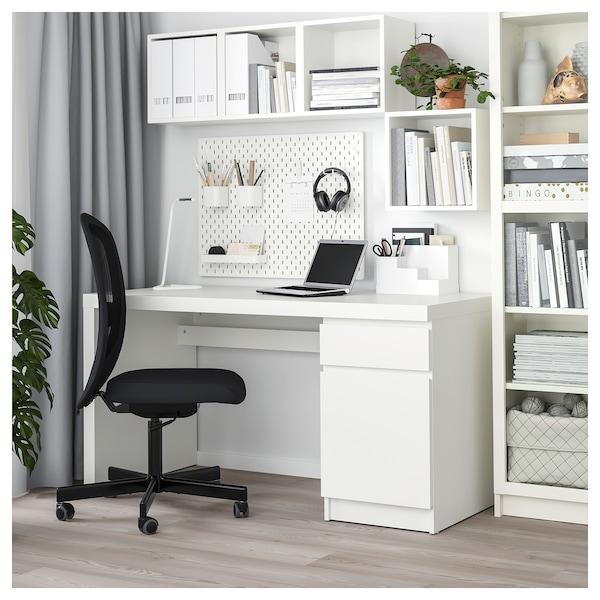 MALM Secretária, branco, 140x65 cm