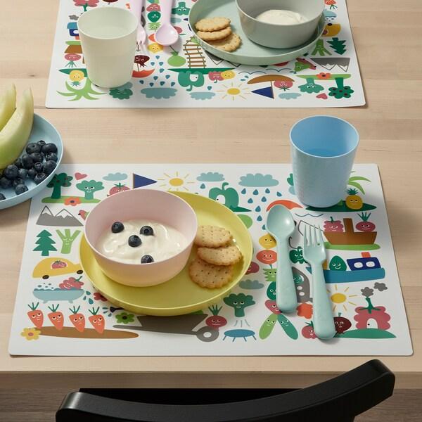 MATVRÅ Individual, padrão frutas/vegetais/multicor, 40x30 cm