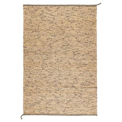 MELHOLT Tapete, tecelagem plana, feito à mão cru/azul escuro, 133x195 cm