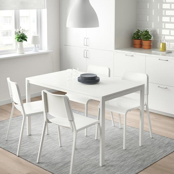 MELLTORP / TEODORES Mesa e 4 cadeiras, branco, 125 cm