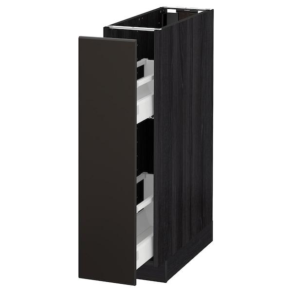 METOD Arm baixo/org interior extraíveis, preto/Kungsbacka antracite, 20x60 cm