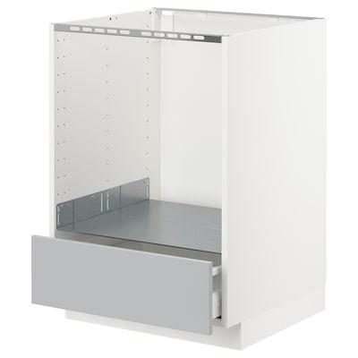 METOD Arm bx p/forno c/gav, branco/Veddinge cinz, 60x60 cm
