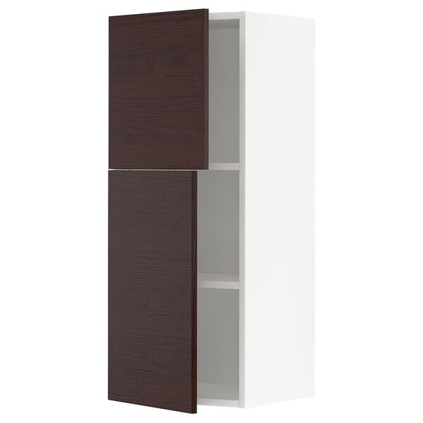 METOD Arm parede c/prateleiras/2 port, branco Askersund/castanho escuro efeito freixo, 40x100 cm