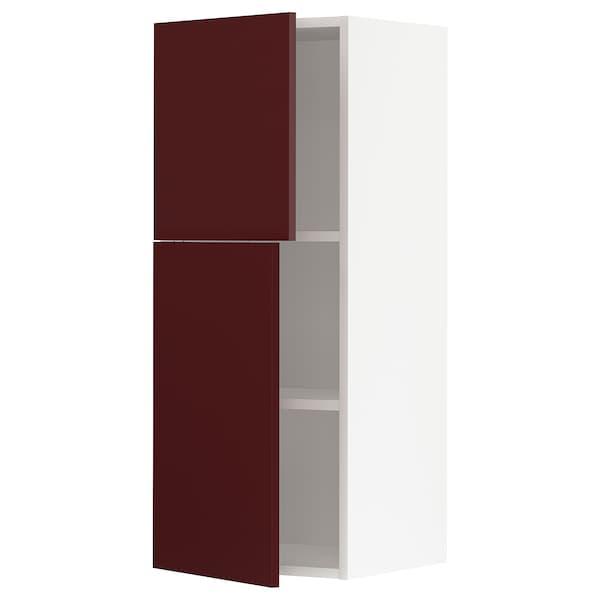 METOD Arm parede c/prateleiras/2 port, branco Kallarp/brilh vermelho acastanhado escuro, 40x100 cm