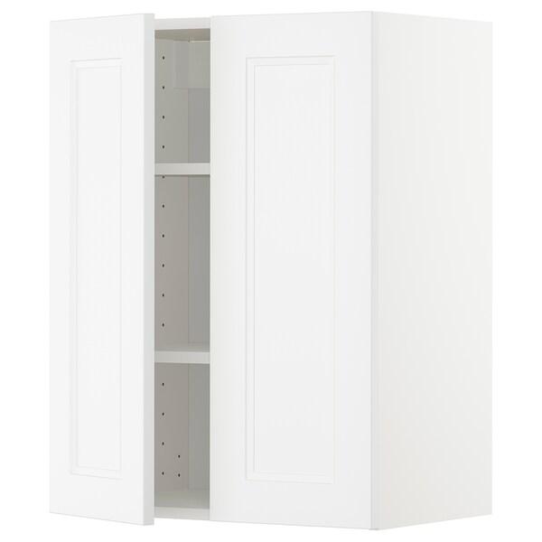METOD Arm parede c/prateleiras/2port, branco/Axstad branco mate, 60x80 cm