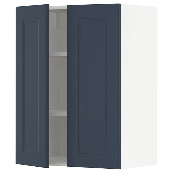 METOD Arm parede c/prateleiras/2port, branco Axstad/mate azul, 60x80 cm