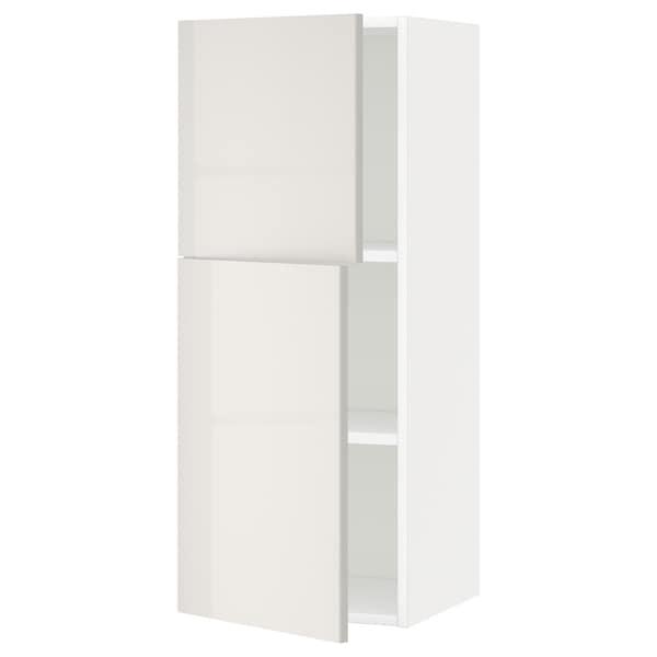 METOD Arm parede c/prateleiras/2port, branco/Ringhult cinz clr, 40x100 cm