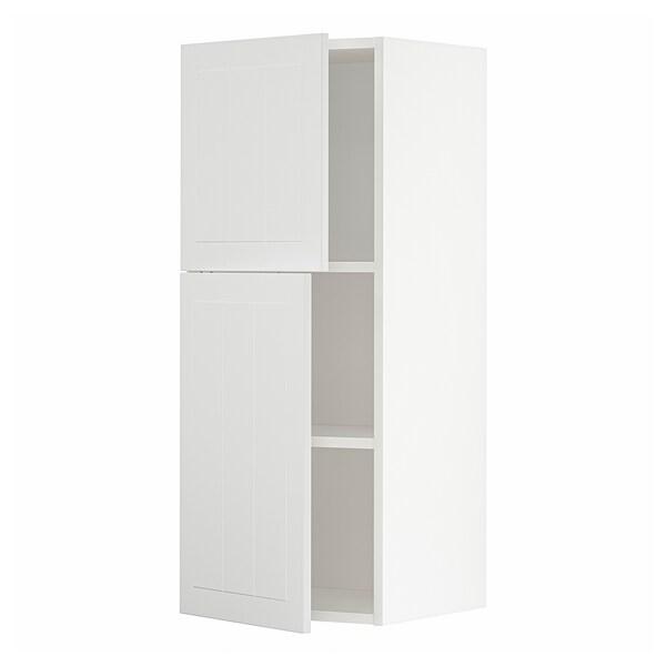 METOD Arm parede c/prateleiras/2port, branco/Stensund branco, 40x100 cm
