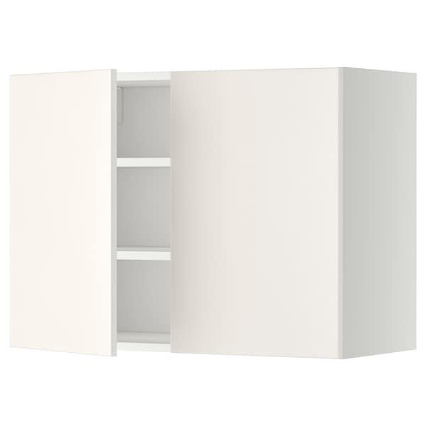 METOD Arm parede c/prateleiras/2port, branco/Veddinge branco, 80x60 cm