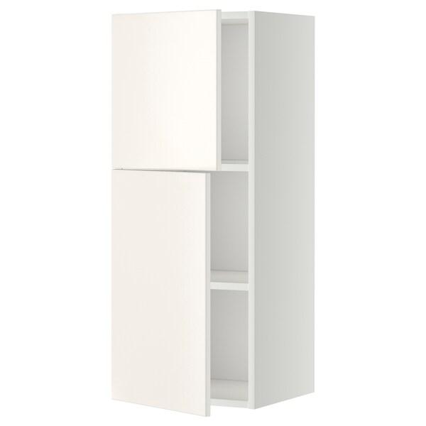 METOD Arm parede c/prateleiras/2port, branco/Veddinge branco, 40x100 cm