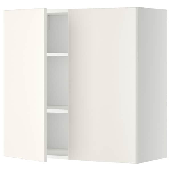 METOD Arm parede c/prateleiras/2port, branco/Veddinge branco, 80x80 cm