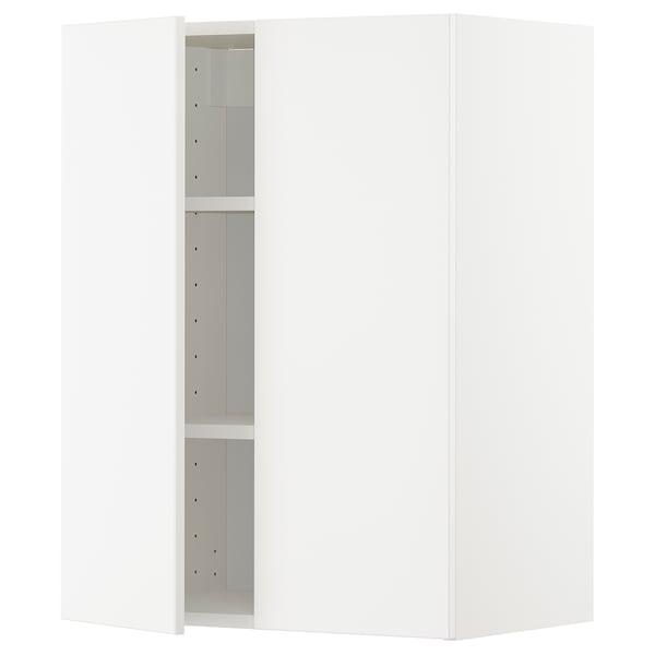 METOD Arm parede c/prateleiras/2port, branco/Veddinge branco, 60x80 cm