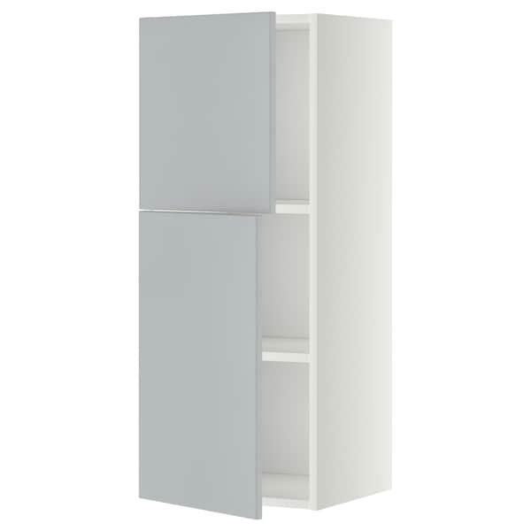 METOD Arm parede c/prateleiras/2port, branco/Veddinge cinz, 40x100 cm