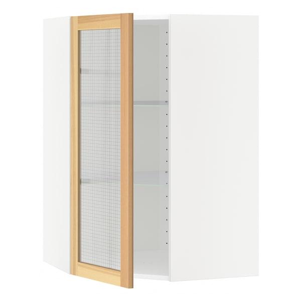 METOD Arm parede canto c/prat/porta vidro, branco/Torhamn freixo, 68x100 cm