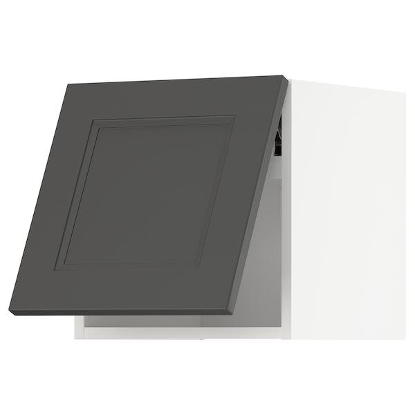 METOD Arm parede horizontal c/abert press, branco/Axstad cinz esc, 40x40 cm