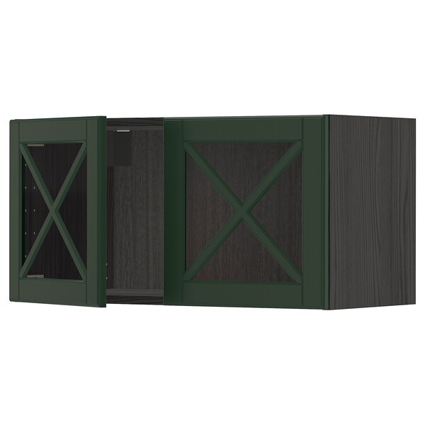 METOD Arm prd c/2pt vidr, preto/Bodbyn verde escuro, 80x40 cm