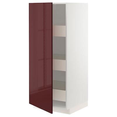 METOD Armário alto c/gavetas, branco Kallarp/brilh vermelho acastanhado escuro, 60x60x140 cm