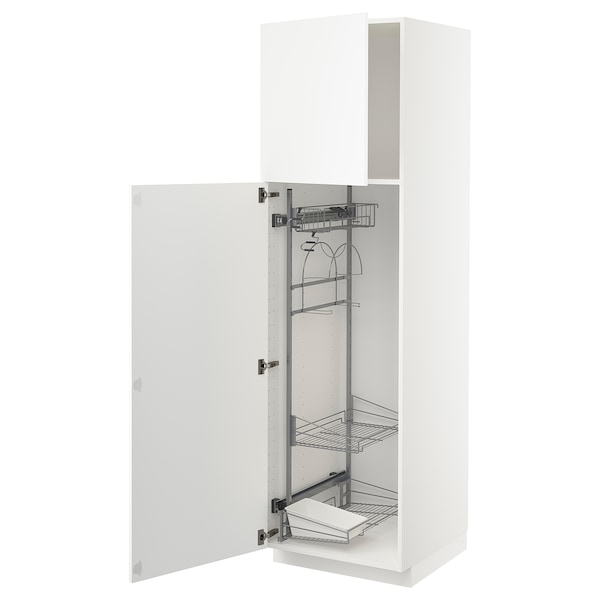 METOD Armário alto c/int p/prod limpeza, branco/Axstad branco mate, 60x60x200 cm