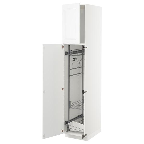 METOD Armário alto c/int p/prod limpeza, branco/Axstad branco mate, 40x60x200 cm