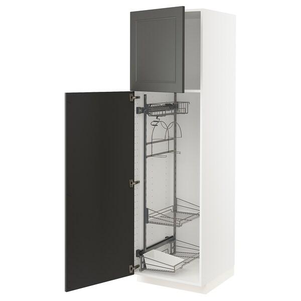 METOD Armário alto c/int p/prod limpeza, branco/Axstad cinz esc, 60x60x200 cm