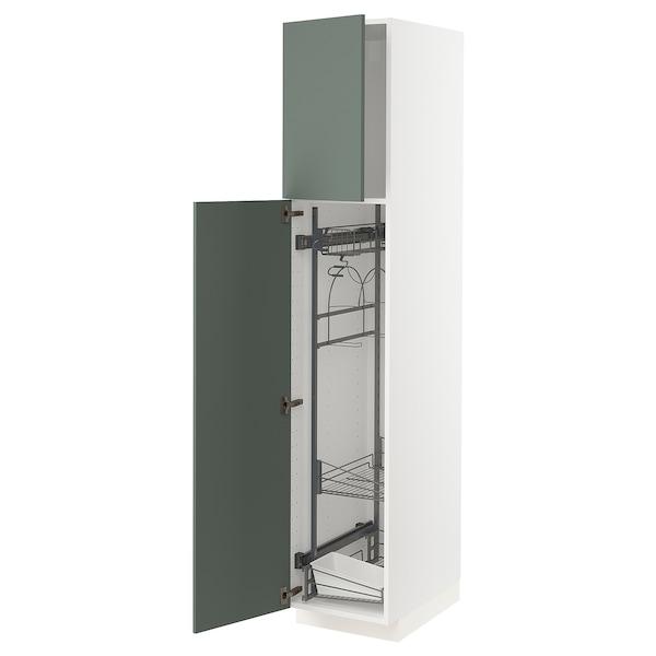 METOD Armário alto c/int p/prod limpeza, branco/Bodarp verde acinzentado, 40x60x200 cm