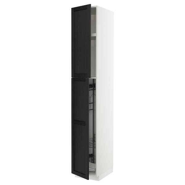 METOD Armário alto c/int p/prod limpeza, branco/Lerhyttan velatura preta, 40x60x240 cm