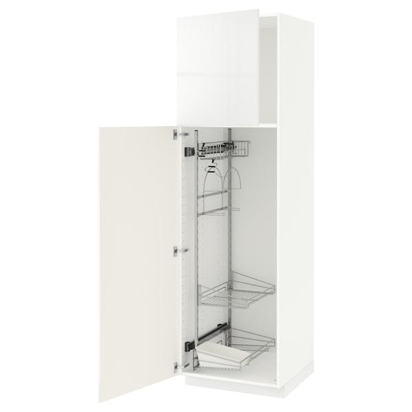 METOD Armário alto c/int p/prod limpeza, branco/Ringhult branco, 60x60x200 cm