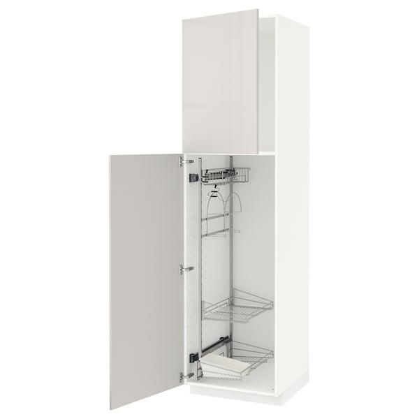 METOD Armário alto c/int p/prod limpeza, branco/Ringhult cinz clr, 60x60x220 cm