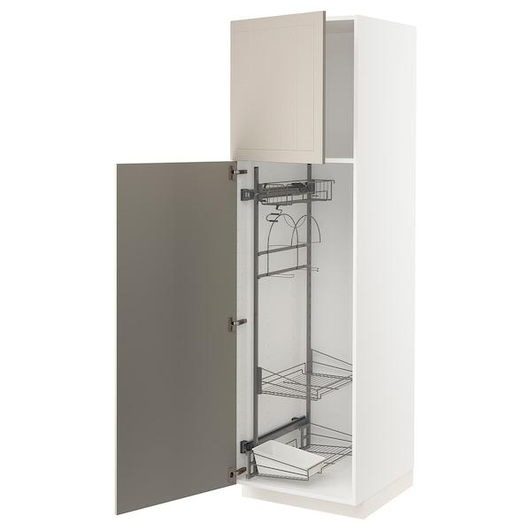 METOD Armário alto c/int p/prod limpeza, branco/Stensund bege, 60x60x200 cm