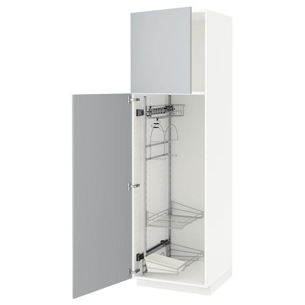 METOD Armário alto c/int p/prod limpeza, branco/Veddinge cinz, 60x60x200 cm