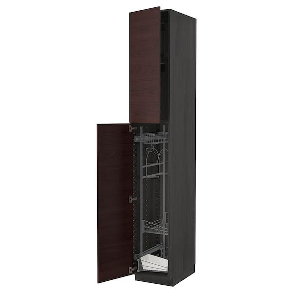 METOD Armário alto c/int p/prod limpeza, preto Askersund/castanho escuro efeito freixo, 40x60x240 cm