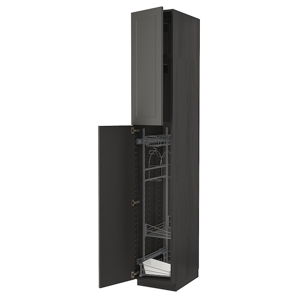 METOD Armário alto c/int p/prod limpeza, preto/Axstad cinz esc, 40x60x240 cm
