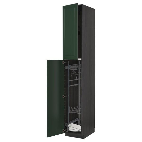 METOD Armário alto c/int p/prod limpeza, preto/Bodbyn verde escuro, 40x60x240 cm