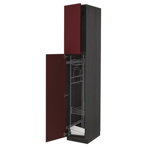 METOD Armário alto c/int p/prod limpeza, preto Kallarp/brilh vermelho acastanhado escuro, 40x60x220 cm