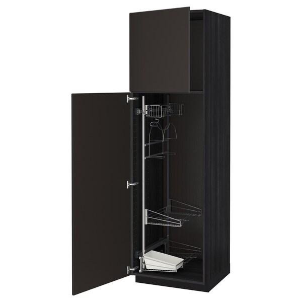 METOD Armário alto c/int p/prod limpeza, preto/Kungsbacka antracite, 60x60x200 cm
