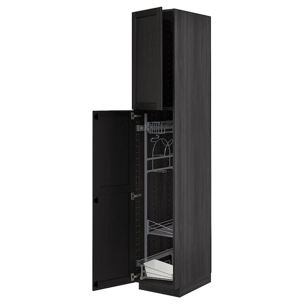METOD Armário alto c/int p/prod limpeza, preto/Lerhyttan velatura preta, 40x60x220 cm