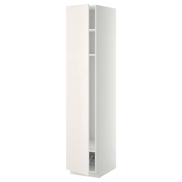 METOD Armário alto c/prat/cesto metálico, branco/Veddinge branco, 40x60x200 cm
